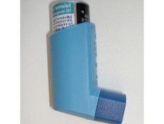 image of blue asthma inhaler