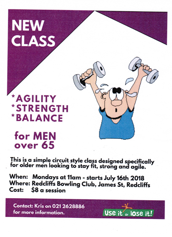 advertisement for local exercise class for men over 65